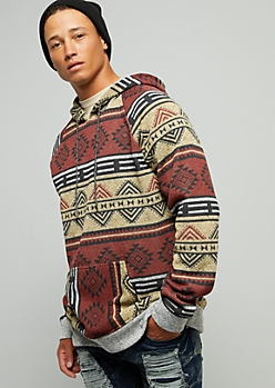 Burgundy Geometric Print Trimmed Fleece Hoodie