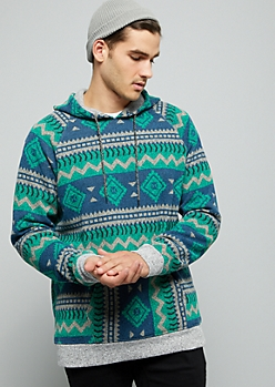 Green Geometric Print Trimmed Fleece Hoodie