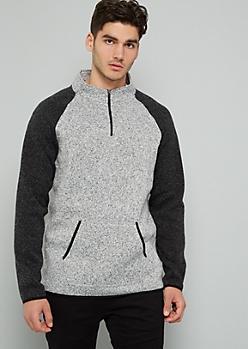 Gray Marled Colorblock Half Zip Sweatshirt