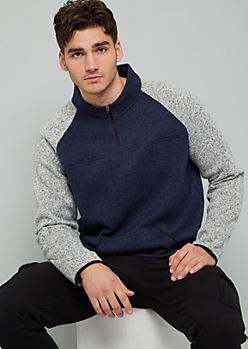 Navy Marled Colorblock Half Zip Sweatshirt