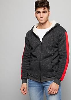 Black Speckled Sherpa Zip Front Hoodie