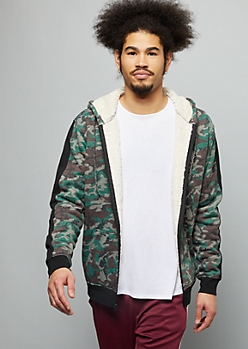 Camo Print Side Striped Sherpa Zip Front Hoodie