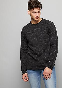 Black Space Dye Sherpa Crew Neck Sweatshirt