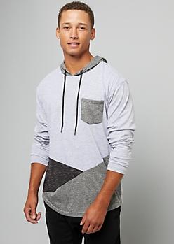 Gray Diagonal Colorblock Pocket Hoodie