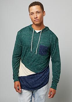 Green Diagonal Colorblock Pocket Hoodie