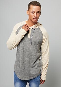 Gray Burnout Wash Raglan Sleeve Henley Hoodie