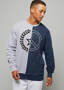 Heathered Blue Split Front Colorblock Sweatshirt