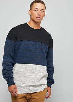 Black Space Dye Colorblock Sweatshirt