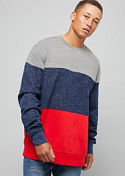 Heather Gray Space Dye Colorblock Sweatshirt