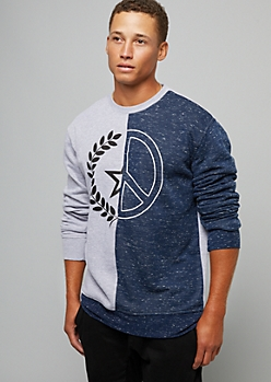 Gray Split Star Peace Sign Crew Neck Sweatshirt