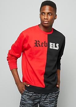 Red Split Rebels Crew Neck Sweatshirt