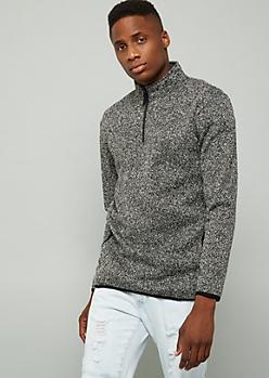 Marled Black Half Zip Fleece Pullover