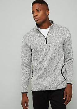 Gray Marled Quarter Zip Fleece Sweatshirt