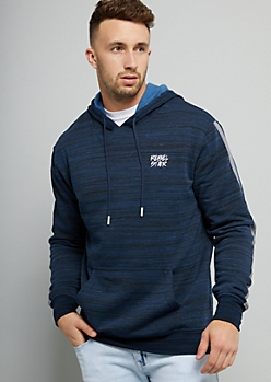 Navy Space Dye Rebel Star Hooded Sweater