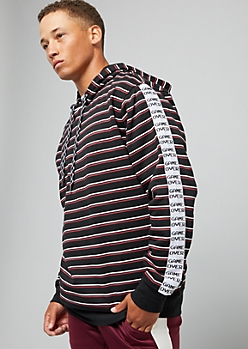 Black Game Over Side Striped Hoodie