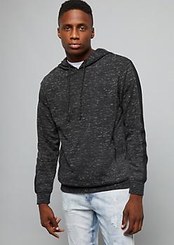 Black Space Dye Zipper Pocket Hoodie
