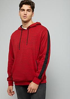 Red Space Dye Zipper Pocket Hoodie