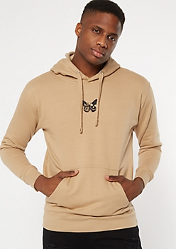 Khaki Butterfly Skull Embroidered Hoodie