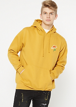 Mustard Skeleton Rose Embroidered Hoodie