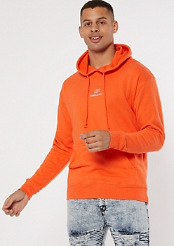Orange Sensitive Content Embroidered Hoodie