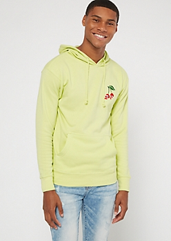 Neon Green Skull Cherry Embroidered Hoodie
