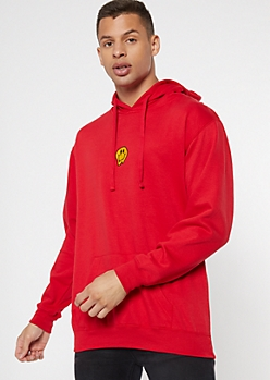 Red Drippy Smiley Embroidered Hoodie