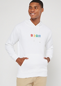 White Kanji Letter Embroidered Hoodie