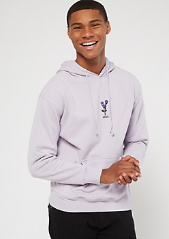 Purple Rose Embroidered Fleece Hoodie