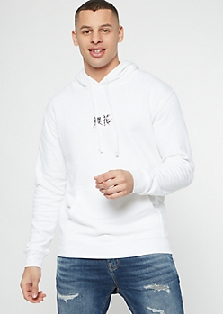 White Kanji Cherry Blossom Embroidered Hoodie