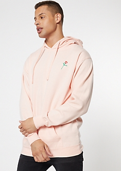 Light Pink Rose Embroidered Hoodie