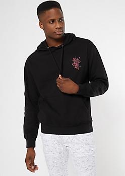 Black Kanji Cherry Blossom Embroidered Hoodie
