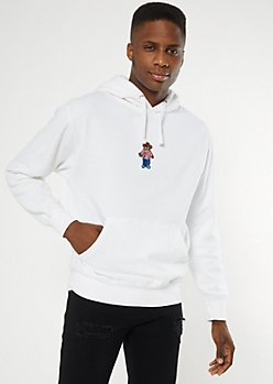 White Cash Bear Embroidered Hoodie