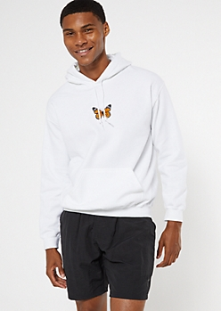 White Butterfly Embroidered Hoodie