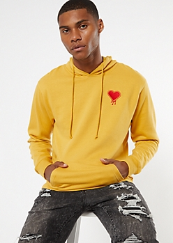 Yellow Drippy Heart Embroidered Hoodie