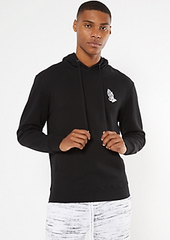 Black Blessed Embroidered Hoodie