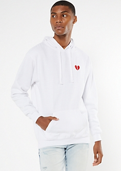 White Broken Heart Embroidered Hoodie