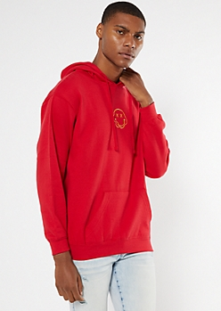 Red Melted Smiley Embroidered Hoodie