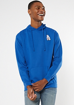 Royal Blue Ramen Bear Embroidered Hoodie