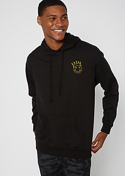 Black Smiley Crown Embroidered Hoodie