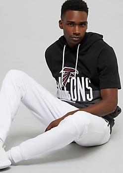 NFL Atlanta Falcons Black Colorblock Short Sleeve Hoodie