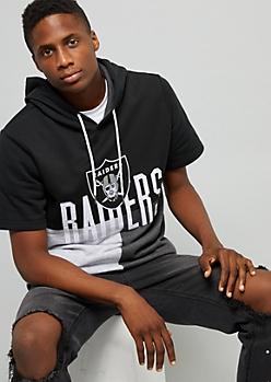 NFL Oakland Raiders Black Colorblock Short Sleeve Hoodie