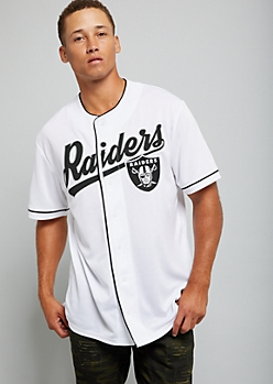 NFL Oakland Raiders White Graphic Baseball Jersey