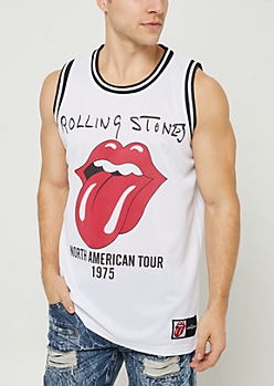 White Rolling Stones Tour Jersey Tank Top