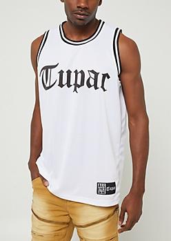 White Tupac Jersey Tank Top