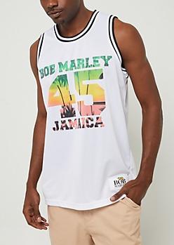 White Bob Marley Jamaica Jersey Tank Top