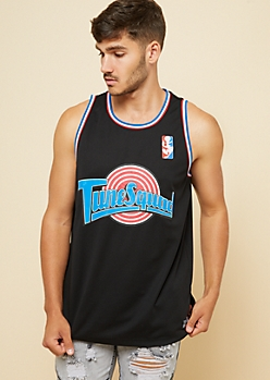 Black Tune Squad Striped Trim Tank Top Jersey