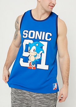Blue Sonic Mesh Jersey Tank Top
