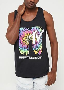Black MTV Logo Muscle Tank