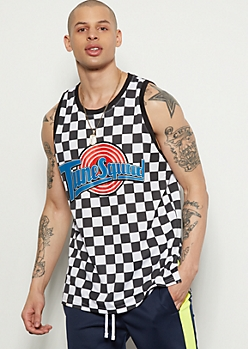Checkered Print Tunes Squad Jersey Graphic Tank Top