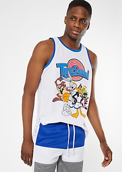 White Toon Squad Graphic Jersey Tank Top